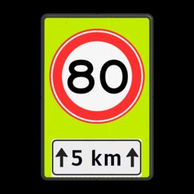 Verkeersbord RVV A01-xxf - OB401-xxx A01-80, Onderbord OB411 - afstand, snelheidsbord, maximumsnelheid, maximum snelheid, maximalesnelheid, maximale snelheid