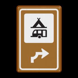 Bewegwijzering Horeca  BW101 + pijlfiguratie Wit / bruine rand, (RAL 8002 - bruin), BEW101 rotonde links, Camping tent & caravan