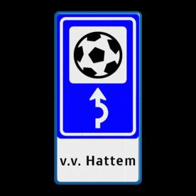 Bewegwijzering Sport + tekst | BW101 + pijlfiguratie Wit / blauwe rand, (RAL 5017 - blauw), BEW101 rotonde links, Bungalow, Bungalopark, De Walnoot