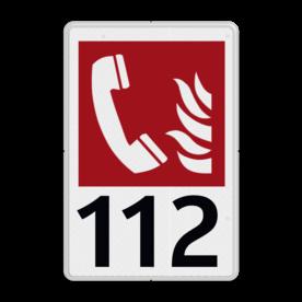 Brandweer - Brandalarm Telefoon - F006 + Eigen tekst Wit / witte rand, (RAL 9002 - wit), Telefoon - Brandweer, 112