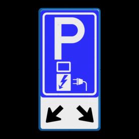 Verkeersbord Parkeerplaats met oplaad punt - Parkeergelegenheid alleen bestemd voor elektrische voertuigen Verkeersbord RVV E08o - oplaadpunt + pijlen - BE04b Wit / blauwe rand, (RAL 5017 - blauw), BW101 SP19 - autolaadpunt, autolaadpunt, na 25 km, oplaadpalen, oplaadpaal, BE04