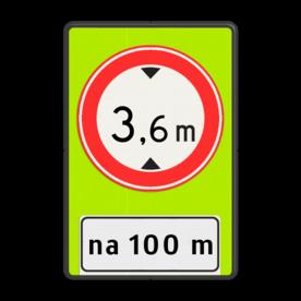 Verkeersbord Na (afstand) meter gesloten voor voertuigen en samenstellingen van voertuigen die, met inbegrip van de lading, hoger zijn dan op het bord is aangegeven Verkeersbord RVV C19f - OB401-xxx - Gesloten voor te hoge voertuigen + afstand - fluor achtergrond C19-OB401f Fluor geel-groen / zwarte rand, (RAL 9005 - zwart), C19-vrij invoerbaar, Onderbord OB401 - afstand invoeren