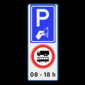 Verkeersbord RVV BW111 - C12b + eigen tekst Wit / blauwe rand, (RAL 5017 - blauw), BW111, C07b, 08 - 18 h