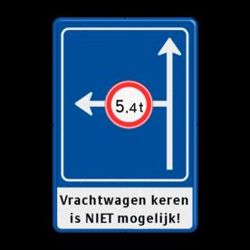 Verkeersbord Rechtsaf afgesloten voor vrachtverkeer Verkeersbord RVV L10-02l +ondertekst doodlopende weg, l8, versperring, geen doorgang, L8