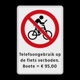 Verkeersbord Verkeersbord telefoongebruik, appen en bellen verboden tijdens het fietsen Verkeersbord - Telefoongebruik op fiets verboden Verkeersbord, verboden, app, appen, bellen, fiets, fietsers, fietsen, telefoon, gebruik, boete, 95, euro