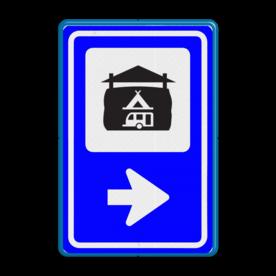 Bewegwijzering Recreatie  BW101 + pijlfiguratie Wit / blauwe rand, (RAL 5017 - blauw), BEW101 pijl rechts, Boerencamping