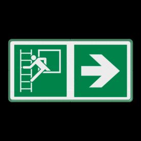 Veiligheidspictogram - Noodraam met vluchtladder - E016 + Pijl Rects Wit / groene rand, (RAL 6024 - groen), Nooduitgang brandtrap, Pijl rechts