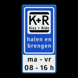 Informatiebord Zone voor parkeergelegenheid ten behoeve van het afzetten van iemand, Het zogenaamde zoen en zoef verkeersbord Informatiebord KISS & RIDE - halen en brengen + ondertekst - L52b ZONE, Kiss + Ride, alleen tijdens, schooluren, parkeerplaats, parkeerplek, kiss, ride , overstapplaats, overstappen, E12,  zoen en zoef, L52b, L52e, L52