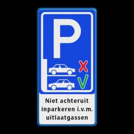 Informatiebord niet achteruit inparkeren - BT21a BT21a voorruit, parkeren, achteruit, inparkeren i.v.m., uitlaatgassen, achterin, verplicht, BT21, informatiebord,
