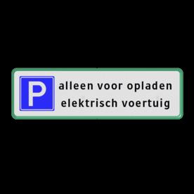 Parkeerplaatsbord Parkeren Elektrisch voertuig parkeerbord, stalen paal, robuust, hufterproof, sterk, directie, E4
