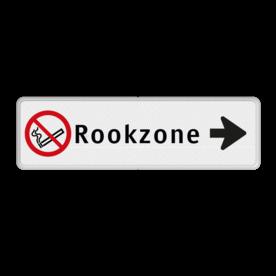 Routebord pijl rechts - Rookzone + eigen tekst routebord, camping, eigen terrein, bezoekers