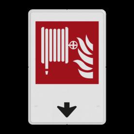 Brandweer - Brandslang - F002 + pijlverwijzing Wit / witte rand, (RAL 9016 - wit), Brandslang, Omlaag