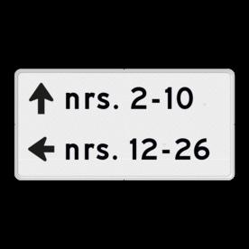 Verwijzing huisnummers - routebord - 2 richtingen routebord, camping, eigen terrein, bezoekers