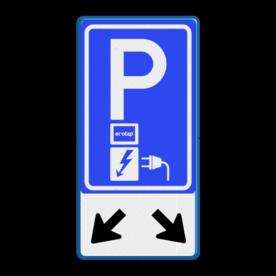 Verkeersbord Parkeerplaats met oplaad punt - Parkeergelegenheid alleen bestemd voor elektrische voertuigen  Verkeersbord RVV E08o - oplaadpunt + pijlen - Ecotap - BE04b Wit / blauwe rand, (RAL 5017 - blauw), BW101 SP19 - autolaadpunt, autolaadpunt, na 25 km, oplaadpalen, oplaadpaal, BE04