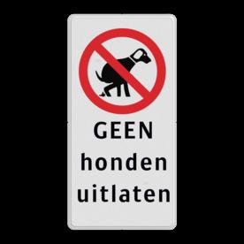 Informatiebord Verboden honden uit te laten Informatiebord 200x400mm rd/zw - GEEN honden uitlaten eigen terrein, honden, lijn, riem verplicht, hondenborden, hondenverbod
