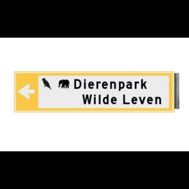 Bewegwijzeringsbord - ENKELZIJDIG - 800x150x15mm RAL1023 2 regelig en pijl