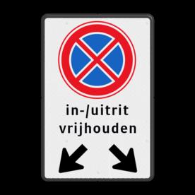 Verkeersbord Verbod stil te staan Verkeersbord RVV E2 + pictogram - Verbod stil te staan E02, E2, Stil staan, In, / uitrit vrijlaten