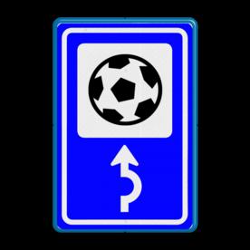 Bewegwijzering Sport  BW101 + pijlfiguratie Wit / blauwe rand, (RAL 5017 - blauw), BEW101 pijl rechts, voetbal