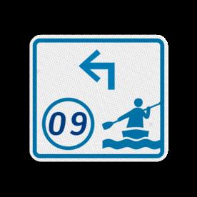 Kanoroutebord 119x109mm met knooppunt en pijl - klasse 3 119x109, Kanoroute, Knooppunt, Knooppuntroute, Route, Kano, huisnummerpaal