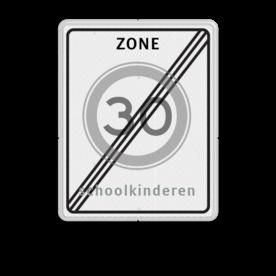 Verkeersbord RVV A02-xxx zbe + txt einde zonebord + kader, (RAL 9016 - wit), Zone, A01-30