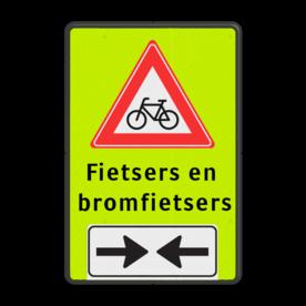 Verkeersbord RVV J24 FLUOR + (brom)fiets 2 txt Tekstbord, gevaar, J24, bromfiets , fietsers,