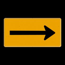 Tekstbord - OB501t - Pijl links/rechts - Werk in uitvoering Fluor geel / gele rand, (RAL 1023 - geel), Hier uw eigen, tekstregels, klik op bewerken >