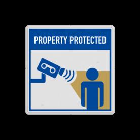 Veiligheidsbord Property Protected - videobewaking Veiligheidsbord met instructies | 1 symbool camera, video, bewaking, property, protected, veiligheid, eigen, terrein, bedrijf