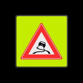 Verkeersbord Slipgevaar (glad wegdek) ~FLUOR achtergrond Verkeersbord RVV J20f - Slipgevaar fluor glad wegdek, alert, slipgevaar, glad wegdek