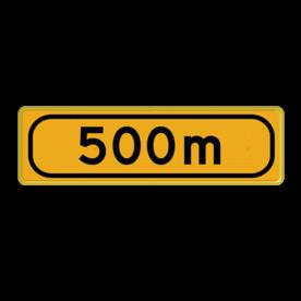 Tekstbord - OB401t-500 - Werk in uitvoering Fluor geel / gele rand, (RAL 1023 - geel), Hier uw eigen, tekstregels, Klik op bewerk >, en pas de , tekst aan!