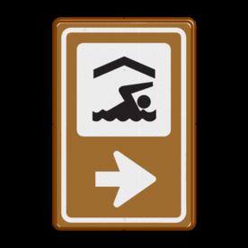 Bewegwijzering Watersport  BW101 + pijlfiguratie Wit / bruine rand, (RAL 8002 - bruin), BEW101 rotonde links, Camping tent & caravan