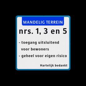 Terreinbord + 3x tekst Terreinbord, 3x tekst