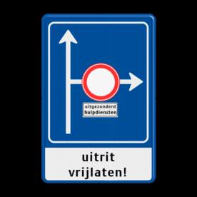 Verkeersbord RVV L10-02r + onderbord + ondertekst L10 kruising rechts beperkt, (RAL 5017 - blauw), C07, , 18:00 - 08:00 uur