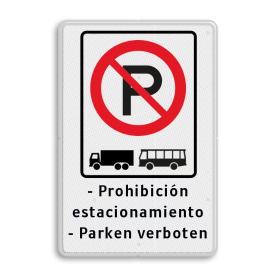 Verkeersbord ARD RVV E201 + eigen tekstregels Wit / witte rand, (RAL 9016 - wit), E201 vrachtauto's en bussen, Prohibición, estacionamiento, - Parken verboten