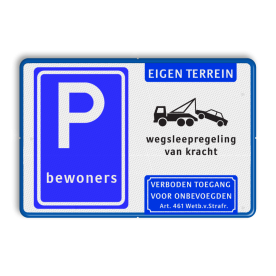 Parkeerbord - bewoners + wegsleepregeling + Art. 461 Wit / blauwe rand, (RAL 5017 - blauw), BETAALD, PARKEREN, max. 1 uur, BW111
