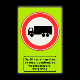 Verkeersbord RVV C07 + ODT Fluor geel-groen / zwarte rand, (RAL 9005 - zwart), C07, Op dit terrein