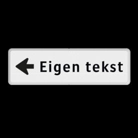 Routebord pijl links - eigen tekst  routebord, camping, eigen terrein, bezoekers