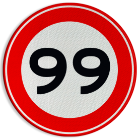 Verkeersbord Maximumsnelheid in kilometer per uur Verkeersbord RVV A01-000 - Vrij invoerbaar km, a1, 10, 15, 6, 5km