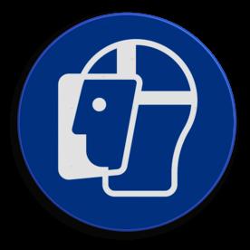 Product Het dragen van gezichtsbescherming is verplicht. Veiligheidspictogram - Gezichtsbescherming verplicht - M013 NEN7010, veiligheidspictogram, gezicht, bescherming