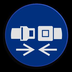 Product Het dragen van een gordel is verplicht Veiligheidspictogram - Gordel dragen verplicht - M020 NEN7010, veiligheidspictogram, gordel, verplicht, auto