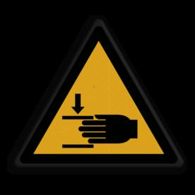 Product Waarschuwing hand niet in steken Veiligheidspictogram - Pas op! beknelling van de handen - W024 hand, handen, insteken, insteken, klem, vastzitten, beklemming, beklemd, geklemd, bekneld, gevaar voor handen