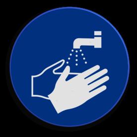 Veiligheidspictogram Handen wassen verplicht Veiligheidspictogram - Handen wassen verplicht - M011 NEN7010, veiligheidspictogram, handen wassen, verplicht
