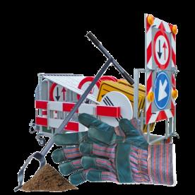 Plaatsing en montage in openbare ruimte plaatsen verkeersbord, parkeerpaal monteren, in de grond plaasten, graven, wegwerker,