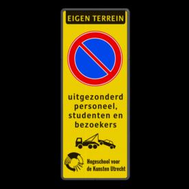 Parkeerbord Eigen terrein + RVV E04 + eigen tekst + LOGO/BEELDMERK Parkeerbord 400x1000mm et-E01-4txt-wsr- LOGO parkeerterrein, wegsleepregeling, parkeerverbod, E1