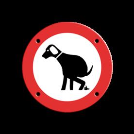 Informatiebord Verboden hond uit te laten Informatiebord ARV Ø100mm hond B niet poepen, verboden voor honden, hondentoilet, dierhondepoep, niet poepen, hondepoepbordjes, hondestront, hondenborden, hondenverbod