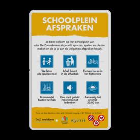 Schoolpleinbord 3:2  full-colour reglementen logobord, eigen ontwerp, Stellingwerf College, speciale borden