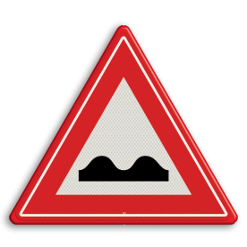 Verkeersbord Waarschuwing Slecht wegdek Verkeersbord RVV J01 - Vooraanduiding slecht wegdek J01 pas op, let op, hobbels in de weg, slechte weg, J1, kuilen in de weg, gaten in de weg, slecht wegdek