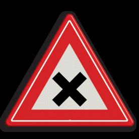 Verkeersbord Vooraanduiding gevaarlijk kruispunt Verkeersbord RVV J08 - Vooraanduiding gevaarlijk kruispunt J08 kruising, let op, pas op, gelijk waardige kruising, J8