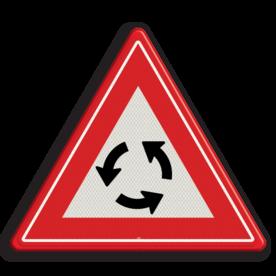 Verkeersbord U nadert een rotonde Verkeersbord RVV J09 - Vooraanduiding rotonde J09 let op. pas op, rontonde, J9