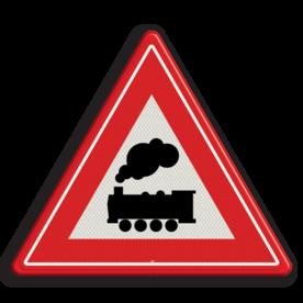 Verkeersbord Je nadert een onbewaakte overweg Verkeersbord RVV J11 - Vooraanduiding overweg zonder slagbomen J11 spoorwegen, spoorwegovergang, overgang, overweg, trein, treinen, let op, pas op, J11, onbewaakte overgang