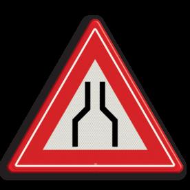 Product Wegversmalling (midden) Verkeersteken RVV J17 smalle weg, let op, pas op, J17, obstakel
